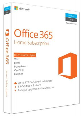 Microsoft Office 365 Home 1 Year 5 PCs or MACs & 5 Mobile Devices
