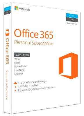 Microsoft Office 365 Personal 1 Year 1 PC or MAC & 1 Mobile Device
