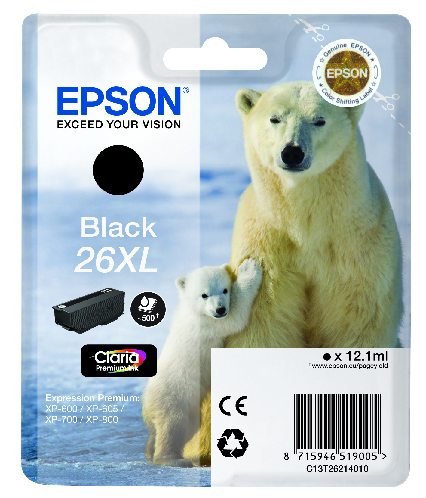 Epson Original 26XL Black Ink (Polar Bear)