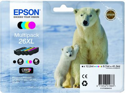 Epson Original 26XL Multipack CMYB Ink (Polar Bear)