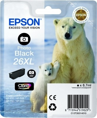 Epson Original 26XL Photo Black Ink (Polar Bear)