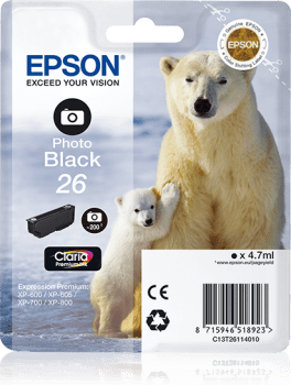 Epson Original 26 Photo Black Ink (Polar Bear)